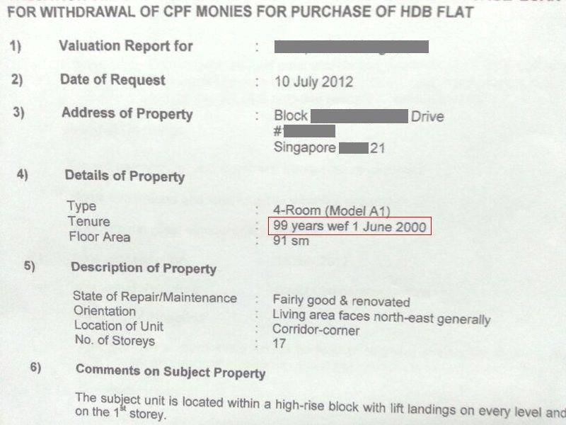 Hdb Valuation Report  Lease Started  Singapore Property Review