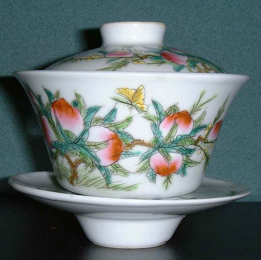 Chinese tea cup with peach (longevity) design