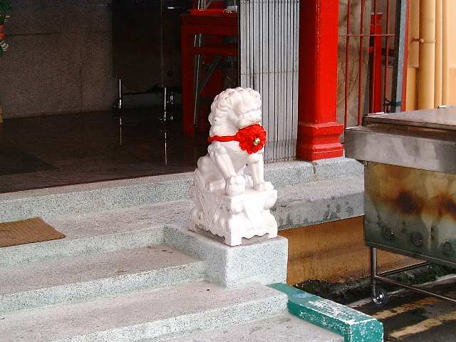 Chinese temple: white lion with a red ribbion