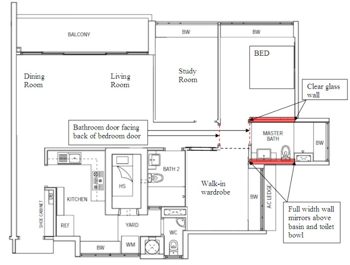 Feng shui on floor plan master bedroom and toilet feng shui at forum geomancy net Master bedroom bathroom layout